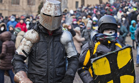 Ukrainian protesters in homemade suits of armour. Photo: Evgeny Feldman