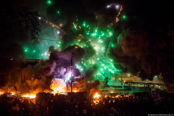 Protestors periodically shoot fireworks at Berkut