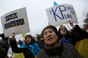 People attend a pro-Ukrainian rally in Simferopol
