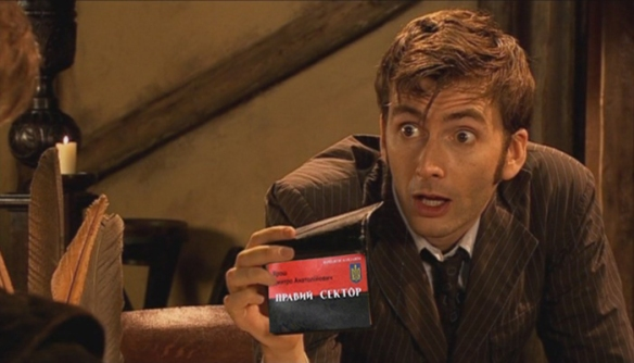 The Tenth Doctor shows Yarosh's card to Shakespeare. Shakespeare, being a genuis, sees right through the BS