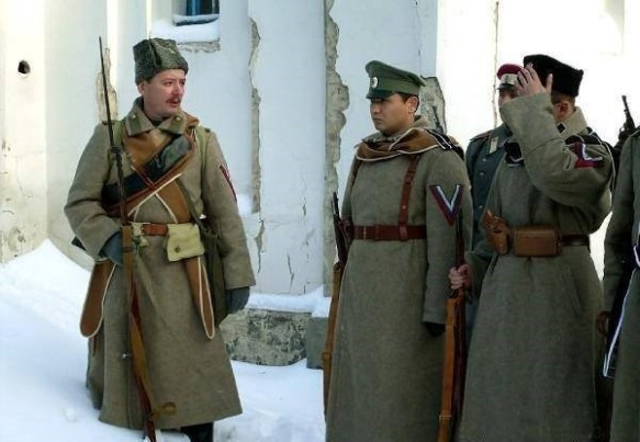 Strelkov during various reenacted battles