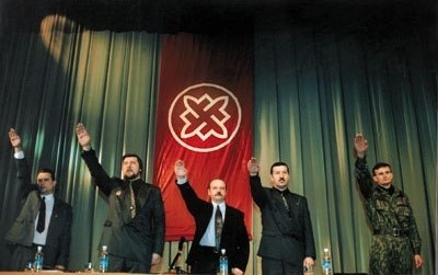 Above: Barkashov at a meeting of his organization