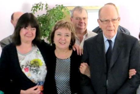 """Helga Zepp-LaRouche, Natalya Vitrenko und Lyndon LaRouche bei einer Konferenz des deutschen """"Schiller-Instituts"""""""