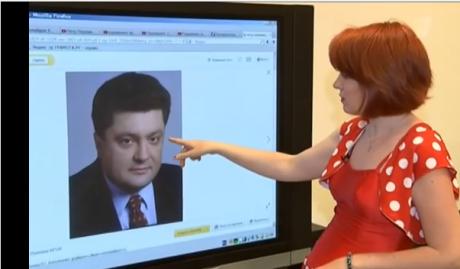 Die Psychologin-Physiognomikerin Swetlana Filatowa weist in Woskresnoje Wremja auf die Aggression in den Augenlidern Poroschenkos.