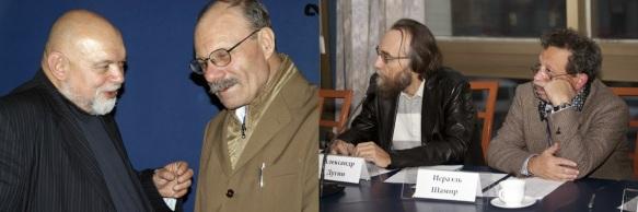 Erstes Foto: Geydar Dzhemal und Claudio Mutti. Zweites Bild: Aleksandr Dugin und Israel Shamir. Florian-Geyer-Klub-Treffen, 17. Oktober 2011, Moskau